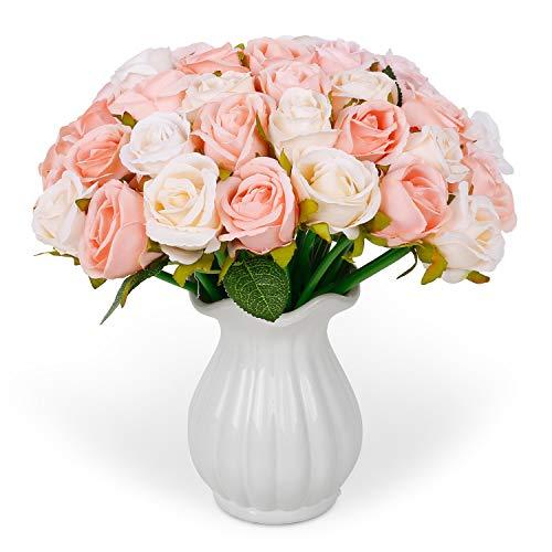 RENATUHOM Künstliche Rosen 24 Köpfe Seidenblumenstrauß 2 Trauben Champagner Seide Gefälschte Rose Braut Hochzeit Home Party Garten Blumendekor