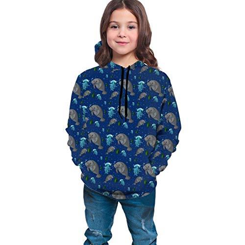 Sudadera con capucha y cordón para niños y niñas, estilo túnica, estilo manatí, bajo el agua