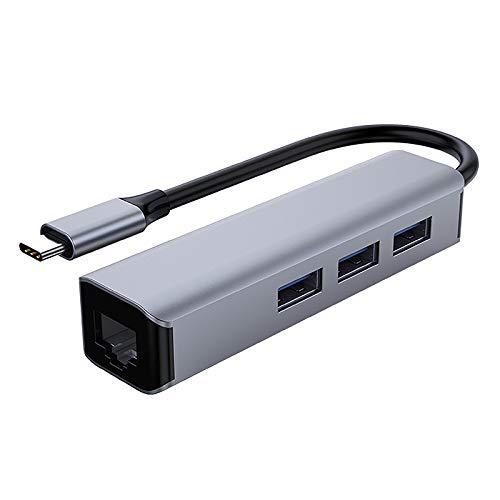 Tamkyo Type-C 4 in 1 Hub, Type-C to Gigabit Network Interface + 3 USB3.0 Port Hub Expanders