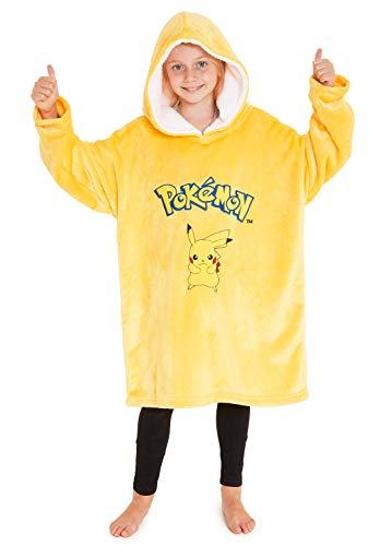 Pokémon Sweat Garcon Oversize Pikachu Pull Enfant Garçon Ou Fille Extra Large en Polaire Douce Taille Unique 7-14 Ans, Cadeau pour Garçon Fille Ado Gamer