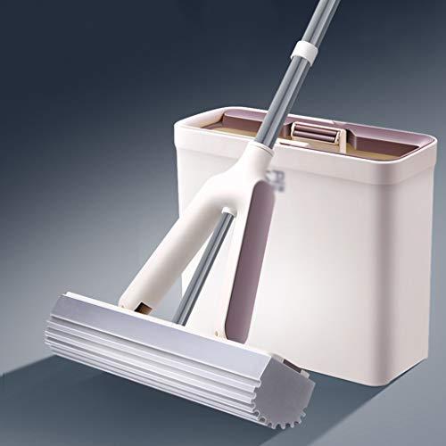 XJAXY Mop PVA-spons mop emmer, wassen, drogen en winkelen voor vloerreiniging - Super absorberend PVA-spons, compacte pail, eenvoudige opslag, 2 moppen, inclusief