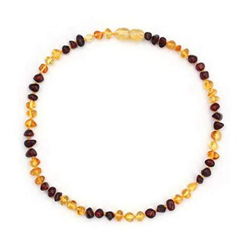 Regalos Hechos a Mano para mamá Collar báltico para Adultos Collar/Pulsera de ámbar - Oro y Cereza - 33cm
