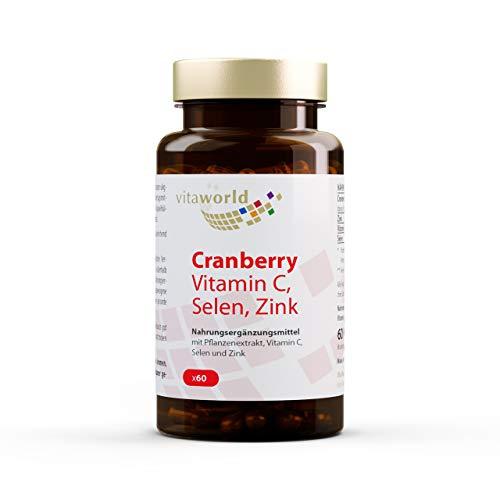 Vita World Cranberry + Vitamine C, Selenium En Zink - 60 Capsules - VEGAN - Gemaakt in Duitsland