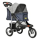 VIAGDO Premium Heavy Duty Pet Stroller for Small Medium Dogs & Cats, 3-Wheel Cat Stroller, Foldable Dog Stroller with Suspension System/Link Brake/One-Hand Fold, Max. Loading 55 LBS