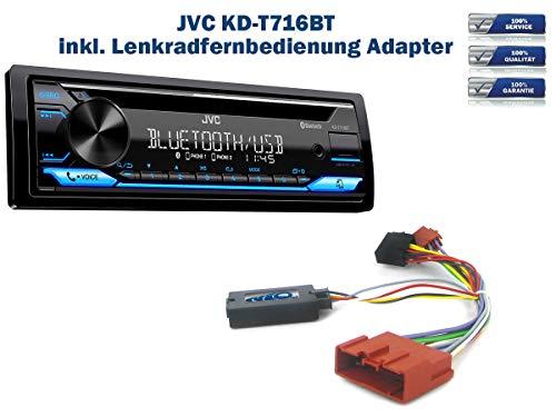 Autoradio JVC KD-T716BT geeignet für Mazda 2 | 5 | MX-5 inkl. Lenkrad Fernbedienung Adapter