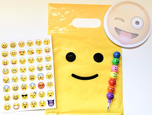 Emoji Party Favors for Kids, 6 Pack Pre-Assembled in Smile Bag Filled with Ball, Pencil, and Sticker Sheet Perfect for Teens Tweens Girls Boys Birthday Supplies Toys Loot Goodie Bags