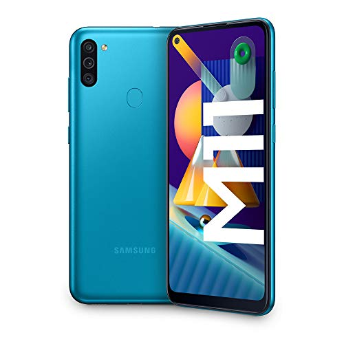Samsung Galaxy M11, Smartphone, Display 6.4' HD+ TFT, 3 Fotocamere, 32GB Espandibili, RAM 3GB, Batteria 5000 mAh, 4G, Dual Sim, Android 10, 2020 [Versione Italiana], Metallic Blue