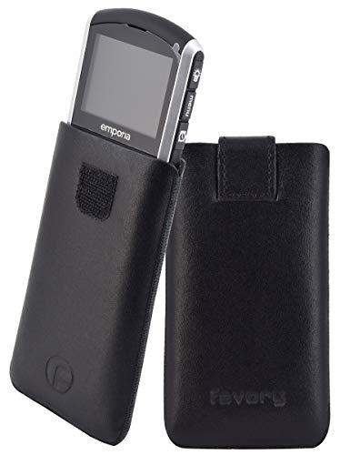 Original Favory Etui Tasche für / Emporia PURE / Leder Etui Handytasche Ledertasche Schutzhülle Hülle Hülle Lasche mit Rückzugfunktion* in schwarz