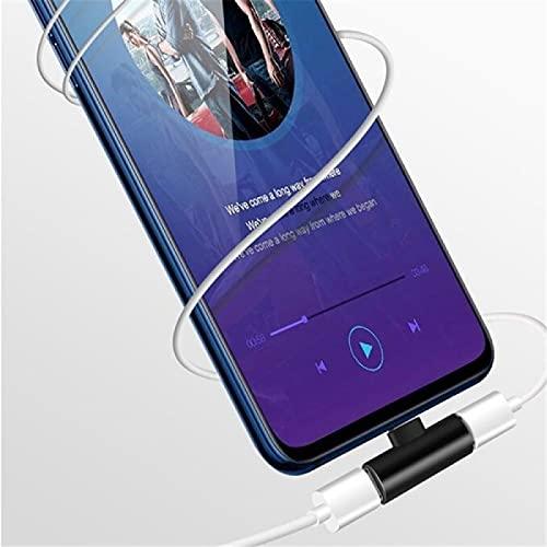 Fmaoltkk 2 en 1 cargador USB adaptador de conector para auriculares, adaptador de distribuidor de auriculares curvado, para teléfonos móviles, tabletas. (oro, tipo-c+3.5)