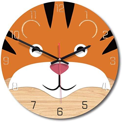 BINGTANGXUELI Co.,ltd Reloj De Pared Animal Cartoon King of The Forest Tiger 30Cm Habitación Infantil Decoración De Pared Silent Easy Tread