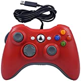 USB Wired Game Pad Controller for Xbox 360, Xbox 360 Slim, Windows PC - Replacement USB Wired Gamepad (Red)