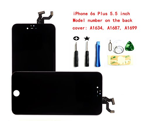 Price comparison product image Black for iPhone 6S Plus 5.5 Inch LCD Screen Replacement Full Digitizer Assembly Frame Set Front Glass 3D Touch Display Required Tool Kit
