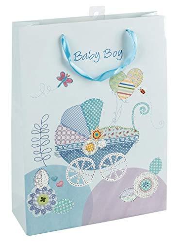 Idena 30209 Geschenktasche Geburt Junge Baby Boy, blau