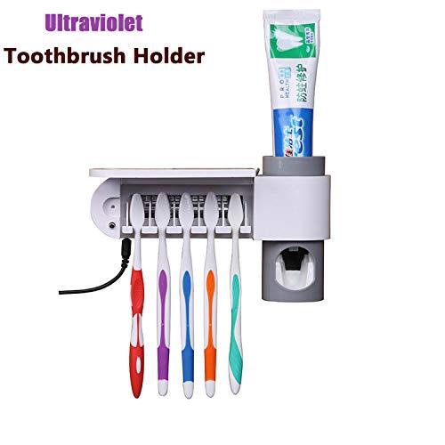 Felipe 2 in 1 UV-Licht Zahnbürste Sterilisator Ultraviolett Zahnbürstenhalter Automatische Zahnpasta Quetscher Dispenser Home Badezimmer Set A