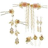 Prettyia Chinese Bridal Hairpins Headdress Hair Coronet Phoenix Gown Jewelry Wedding Hair Accessories with Dangle Earrings