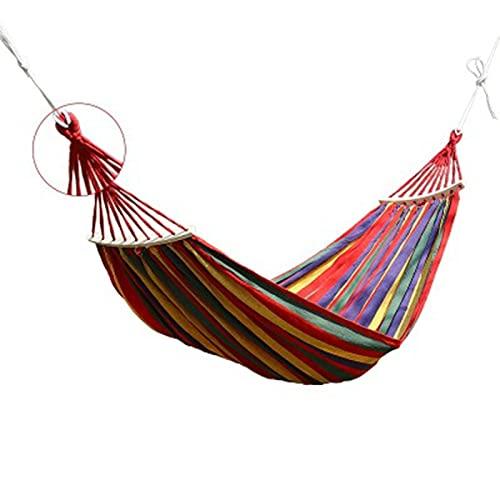 LHY Hamaca de Lona Extra Grande, Hamaca para Acampar con Palo de Madera, Hamaca para Exteriores Incluye Bolsa de Transporte portátil Viajes, Playa, Patio, balcón y Viajes