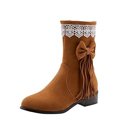 URIBAKY - Botas de piel para mujer, con flecos, cómodas, de punta redonda, de punta, impermeables, para motociclista, de piel, amarillo, 37 EU