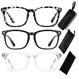 3 Pack Blue Light Blocking Glasses with Glasses Case Kit, Clear Frame Computer Reading Glasses for Gaming Anti Glare Eyestrain Unisex