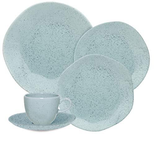 1 Aparelho De Jantar/chá 20 Peças Ryo Blue Bay - Rm20-9507 Oxford Ryo Azul Claro