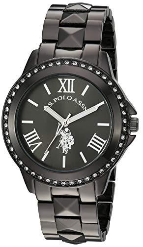 U.S. Polo Assn. Reloj de mujer con bisel de cristal tachonado, correa de aleación con cierre de joyería, Negro