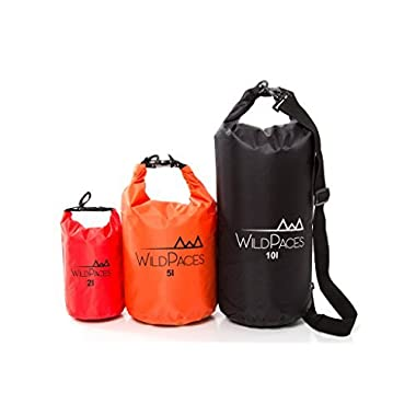 Super Value Set of 3 Waterproof Dry Bags by WildPaces 10L 5L 2L for Swimming Running Cycling Biking Camping Hiking Beach Boating Kayaking 1 Adjustable Shoulder Strap
