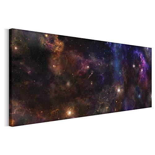 Revolio - Cuadro en Lienzo - Imágen Panorámica - Impresión artística - Decoracion de Pared - Tamaño: 150 x 60 cm - Cosmos Estrella Violeta