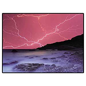 Doormat Outdoor Thunderstorm in The Ocean Camper Rugs Outdoor Floor Rugs for Living Room 6.6 X 10 Ft