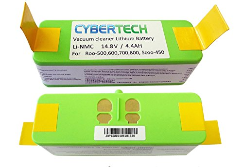 Lithium Li-Ion Replacement Battery for iRobot Roomba 500,600,700,800 900 960 980Series, High Capacity 4400mAh,Super Long-Life(800 Cycle Times) by CyberTech,UL&CE Certified Battery Component