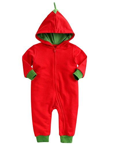 [Livraison gratuite] Vaenait pour bébé 0–24 mois garçon fille Combinaison à capuche Barboteuse Panier - Rouge - Large