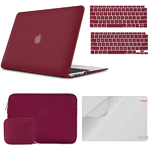iCasso MacBook Air 13 Inch Case A1932/2179 Bundle 4 in 1, Plastic Hard Shell Case, Sleeve, Screen Protector, Keyboard Cover and Small Pouch Compatible 2020 2019 2018 Macbook Air 13 Touch ID - Wine Red