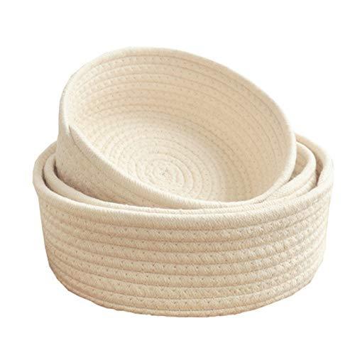 Ganghuo Cesta de almacenamiento de estilo tejido elíptico de cuerda de algodón organizador para artículos pequeños, 3 tamaños, lavable a máquina, multiusos