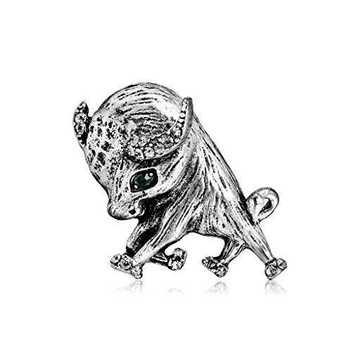 YAZILIND Rhinestone Vintage Animal Taurino Pins Broches para Hombres Mujeres Trajes Vestido Banquete Broche Regalo #2