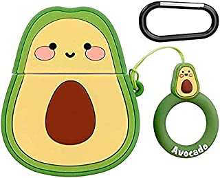 Woocon for Airpod Case,Kawaii Cute Lovely Character Cartoon Silicone Protective Cover Accessories Airpods Keychain Case Compatible with Airpods1/2 (Avocado)