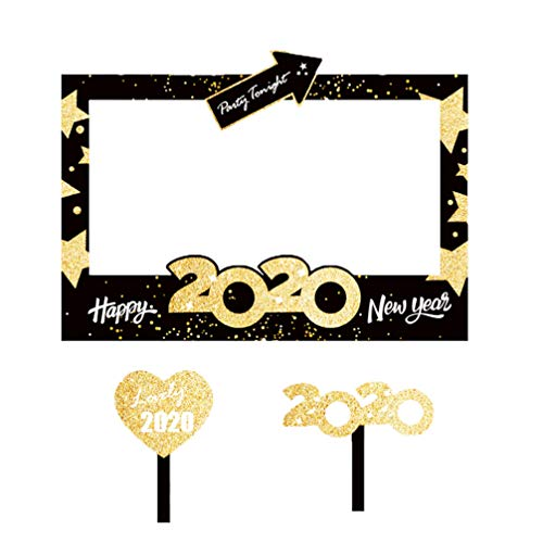 Amosfun Feliz año Nuevo Marco de Fotos víspera de año Nuevo Accesorios de Fiesta favores de Fiesta DIY Glitter 2020 Accesorios de fotomatón Suministros de decoración de año Nuevo