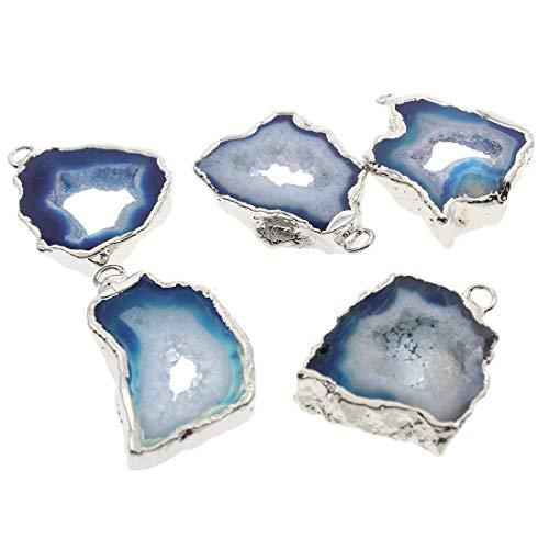 1pc Azul de Plata de Cristal Druzy Geode Rebanada de forma Libre de Hielo de Cuarzo Ágata Natural de la piedra PRECIOSA Plateado Focal Colgantes Lazo de la Joyería Bohemia 25mm y 40mm