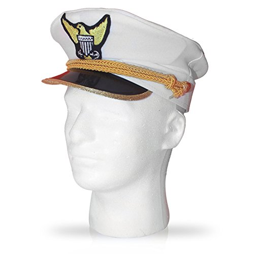 Dress Up America Unisex-Adult's Navy Admiral Hat-Kids, One Size Fits All, White