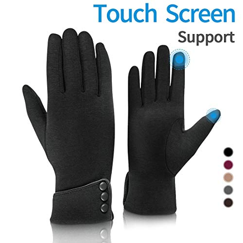 Fashion Touch Screen Winter Gloves Warm Polar Fleece Windproof in Cold Weather For Women Black
