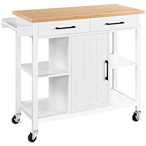 Yaheetech Kitchen Island with 2 Drawers and Storage Cabinet, Kitchen Cart with Bamboo Countertop & Open Shelves & Towel Bar, White
