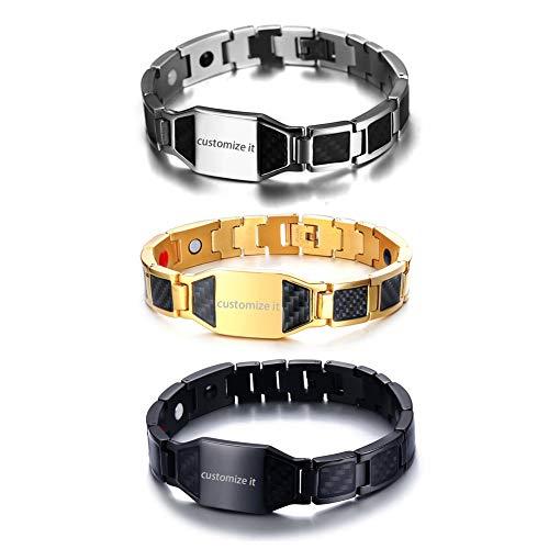 JewelryWe Schmuck 3pcs Herren Magnetarmband mit Gravur, Edelstahl Kohlenstoff Faser Kohlefaser Magnet Armband Armreif Armkette, Schwarz Gold Silber