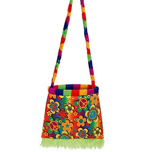 Amakando Colorida Bolsa Flores Paz y Amor - 20 x 20 cm - Genial Accesorio de Disfraz para Chica Hippie Fiestas aos 70 y aos 90