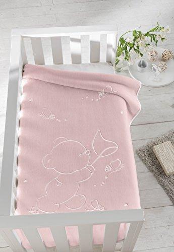 PIELSA BABY - 6654-63   Manta bebe   Manta bebe recién nacido   Manta bebe invierno   Manta bebe meses   Manta bebe gofrado   Manta de cuna   Color Rosa   Tamaño 80 x 110