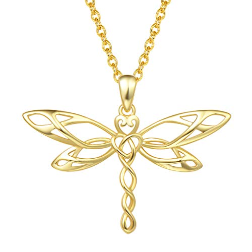 FANCIME Sterling Silver Vivid Dragonfly Pendant Necklace Irish Celtic Heart Shaped Knot Antiqued Animals Necklace Dainty Fine Jewelry for Women Teen Girls,16+ 2' Extender