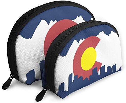 Colorado State Flag Mountains Shellfish Cosmetic Bag Shell Shape Portable Storage Bags Pochette de Toilette de