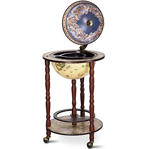 Adaaden Shop Wood Globe Wine Bar Stand 16th Century Italian Rack Liquor Bottle Shelf Cart 17'