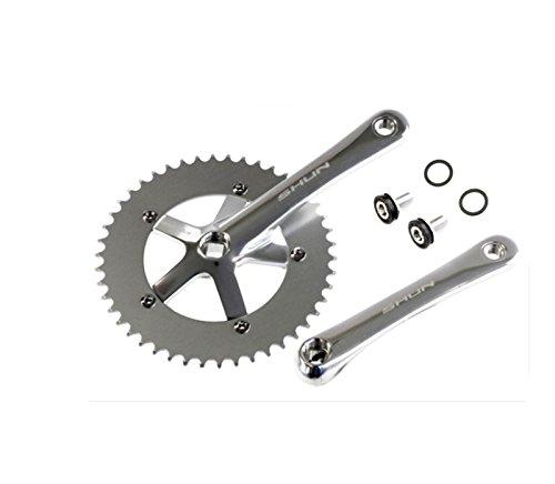 Juego de Plato y Bielas Color PLATA de Aluminio CNC MECANIZADO para Bicicleta Fixie o Singlespeed Urbana 1V 165 mm x 46 T 3742