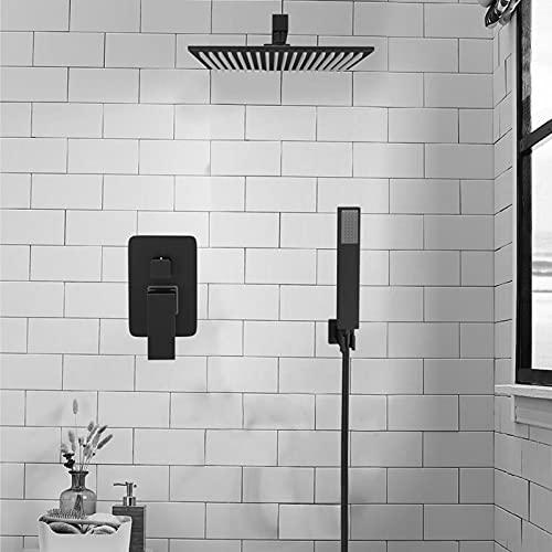 Saeuwtowy Sistema de grifo de baño cuadrado de latón macizo negro de 10 pulgadas, interruptor manual y ducha de mano integrada