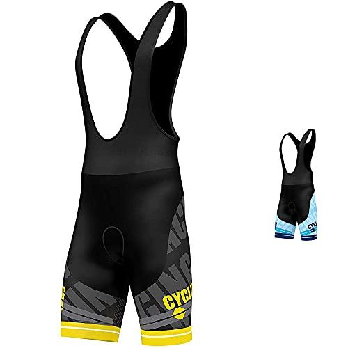 Salopette per ciclismo, imbottita in gel 3D, pantaloncini da ciclismo con stampa a sublimazione, di FDX, FDX-1320-20-19i, Yellow, M