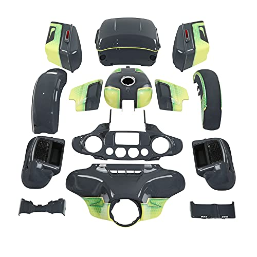 Fairing Body work kit for Harley Electra Glide and Ultra Limited models 2014-2021,for Apple Green/Gunship Gray