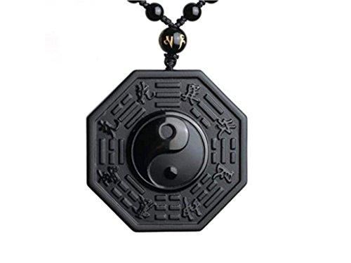 Collana e ciondolo scolpiti Yin e Yang, in ossidiana nera