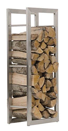 CLP Kaminholzregal KERI aus Edelstahl I Robuster Kaminholzständer mit Bodenschonern I Holzbutler in bis zu 8 Größen wählbar 25 x 60 x 100 cm